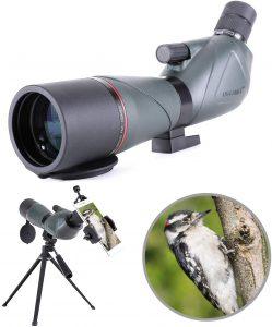 20-60X80 Longue-Vue Télescope monoculaire Birdwatching Imperméable avec Adaptateur de téléphone + Trépied pour Le tir...
