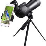 Enkeeo 20-60X60AE Longue-Vue Téléscope Monoculaire, Spotting Scope avec Trépied, BAK-4 Prisme, Zoom Optique 41-21m / 1000m pour des...